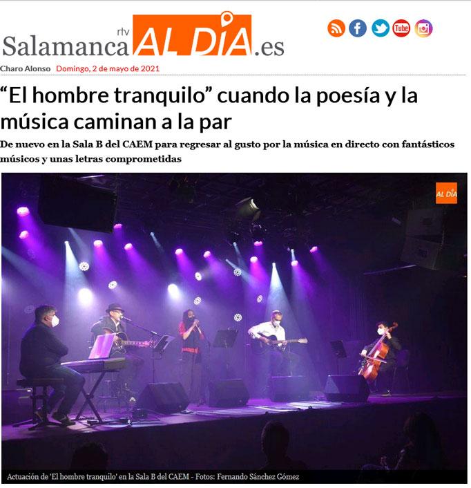 artículo sobre el concierto de El Hombre Tranquilo en el CAEM
